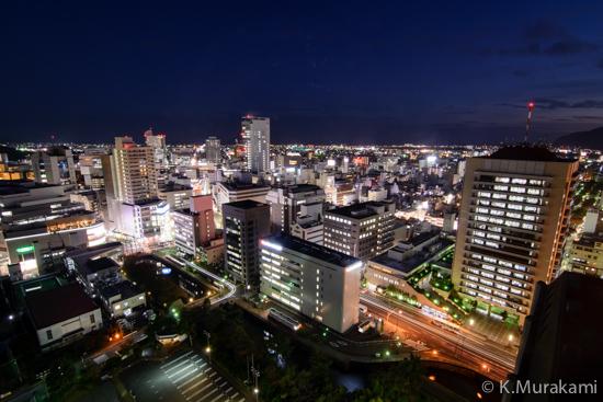 静岡県庁別館21階展望ロビーの夜景 南側