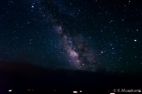 奥石廊崎 あいあい岬の夜景 夏の天の川と行き交う船の灯り(南伊豆町)