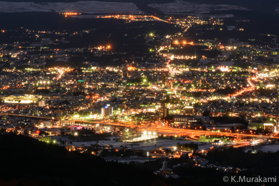乙女峠の夜景(御殿場市街中心部)